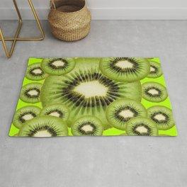 GREEN KIWI SLICES MODERN ART Rug