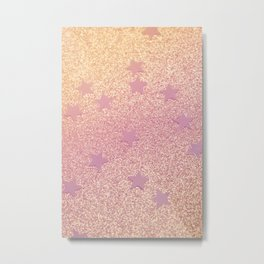Rainbow Glitter and Stars Metal Print