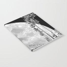 California Dream // Fantasy Moon Beach Sidewalk Black and White Palm Tree Silhouette Collage Artwork Notebook