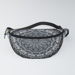 Dark Blue Grey Mandala Design Fanny Pack