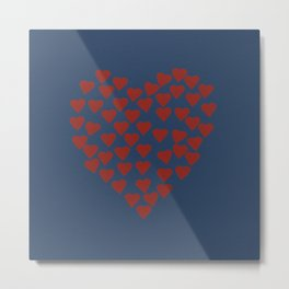 Hearts Heart Red on Navy Tex Metal Print