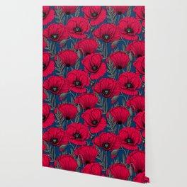 Night poppy garden  Wallpaper