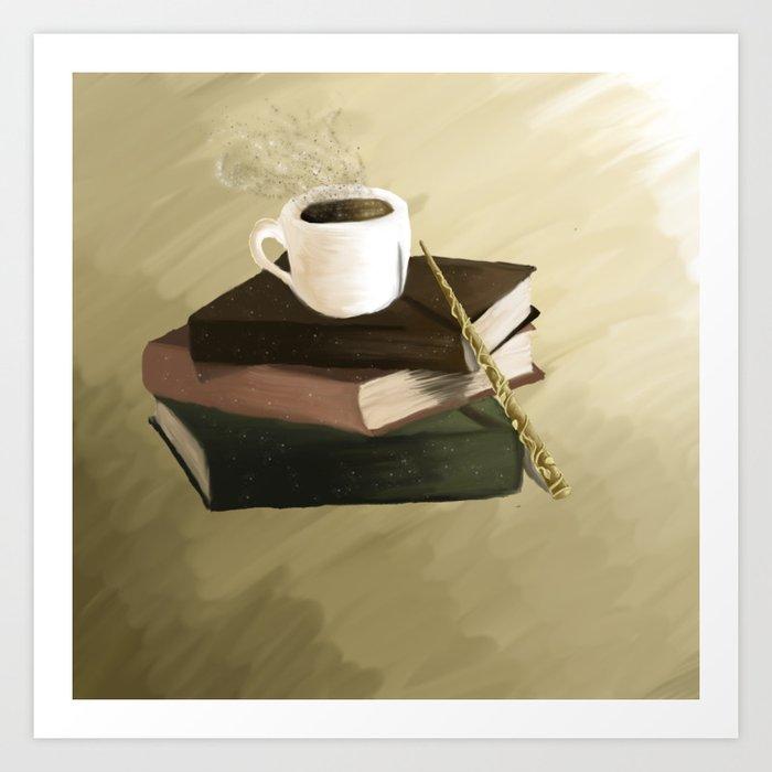 Books and coffee Art Print