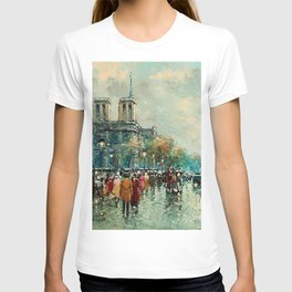 Notre-Dame Cathedral, City Streets of Paris by Antoine Blanchard T-shirt