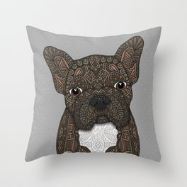 Brindle Frenchie 001 Throw Pillow