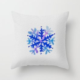 WATERCOLOR SNOWFLAKE 3 - blue and purple palette Throw Pillow