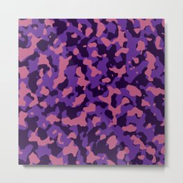 Camouflage Pink and Purple Metal Print
