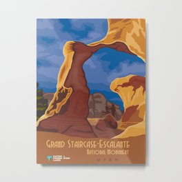 Vintage Poster - Grand Staircase-Escalante National Monument, Utah (2015) Metal Print