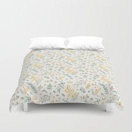 Australian wattle and eucalyptus watercolor floral Duvet Cover
