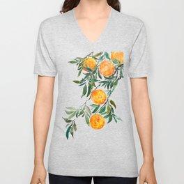 orange watercolor Unisex V-Neck