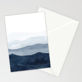 Indigo Abstract Watercolor Mountains Stationery Cards