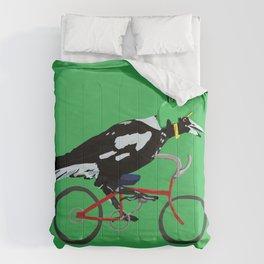 Magpie on Bike Swoop (in Green) Comforters