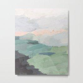 Seafoam Green Mint Black Blush Pink Abstract Nature Land Art Painting Metal Print