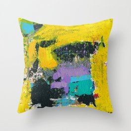Whisper Yellow Abstract Throw Pillow
