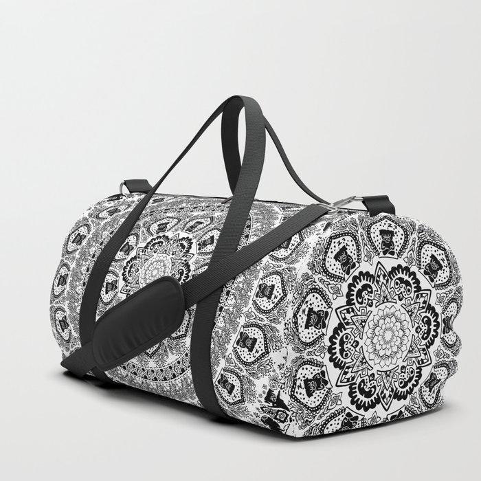 Black Pug Yoga Medallion Duffle Bag