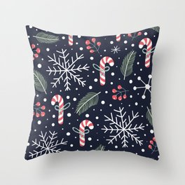 Holiday Seamless Pattern Throw Pillow