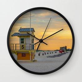 Clearwater Beach Florida Lifeguard Hut Ocean Landscape Tampa Bay Wall Clock