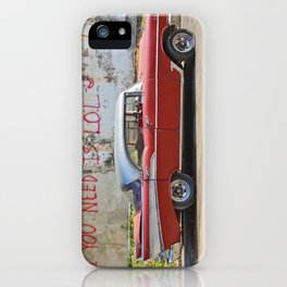 Vintage Car Classic American Automobile Cuba Bel Air Red LOL Graffiti iPhone Case