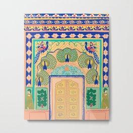 Peacock gate Jaipur Metal Print