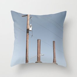 Power Lines and Smoke Stacks Throw Pillow