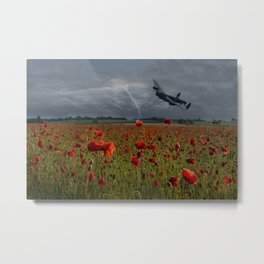 Lancaster Bomber Over A Poppy Field Metal Print