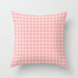 Lush Blush Pink Glossy Gingham Check Plaid Throw Pillow