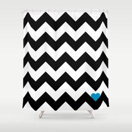 Heart & Chevron - Black/Blue Shower Curtain