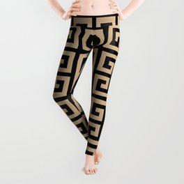 Greek Key (Black & Tan Pattern) Leggings