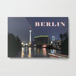 Night at river Spree in BERLIN Metal Print