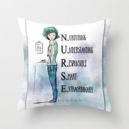 Nurse with Stethoscope Throw Pillow