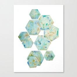 Blue Green Hexagon Arrangement Canvas Print