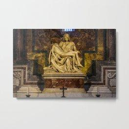 La Pieta Sculpted by Michelangelo photographed at St-Peter's Basilica Metal Print