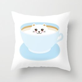 Cute Kawai cat in blue cup Throw Pillow