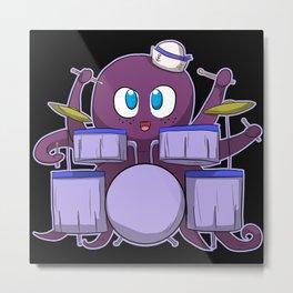 Squid Octopus With Drums Metal Print