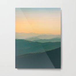 Misty Minimalist Mountain Landscape Photo Parallax Turquoise Yellow Hues Metal Print