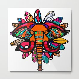 Orange and Purple African Colorful Elephant Metal Print