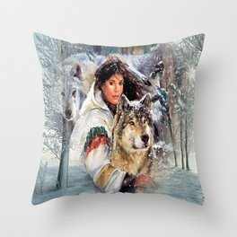 Mountain Woman With Wolfs Throw Pillow
