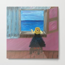 Woman at the Window at Figueres Metal Print