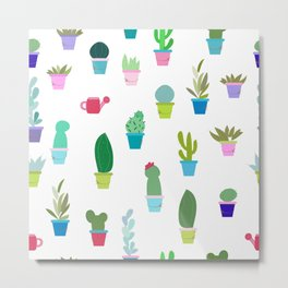 Colorful Cute Potted Cactus and Succulent Pattern Metal Print