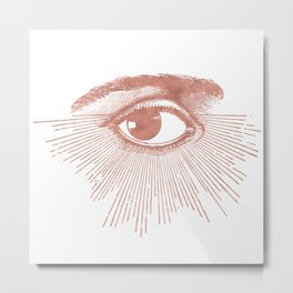 I see you. Rose Gold Pink Quartz on White Metal Print