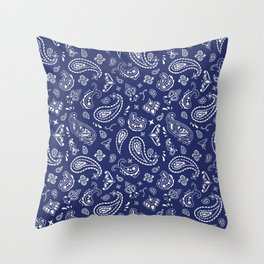 Blue Bandana Throw Pillow