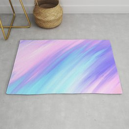 Girly Modern Pink Blue Purple Paint Smudges Rug