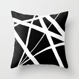 Geometric Line Abstract - Black White Throw Pillow