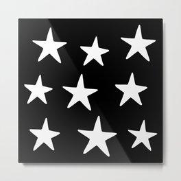 Star Pattern White On Black Metal Print