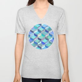 Patchwork Ribbon Ogee Pattern in Blues & Greens Unisex V-Neck