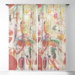 'Spring Sale Soireé at Bendels' Jazz Age New York City Portrait by Florine Stettheimer Sheer Curtain