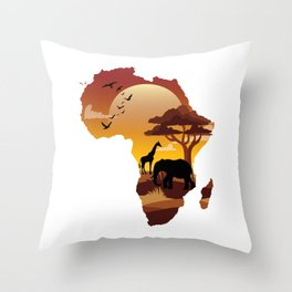 Africa Exotic Forest Veterinarian Safari Animals in Sizzling Orange Sky Wildlife Nature Gifts Throw Pillow