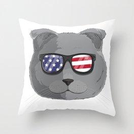 Patriotic Scottish Fold Cat Kitty Merica American Flag Throw Pillow