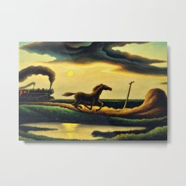 Classical Masterpiece 'The Race' - Horse and Train by Thomas Hart Benton Metal Print