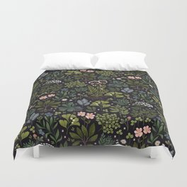 Herbarium ~ vintage inspired botanical art print ~ black Duvet Cover
